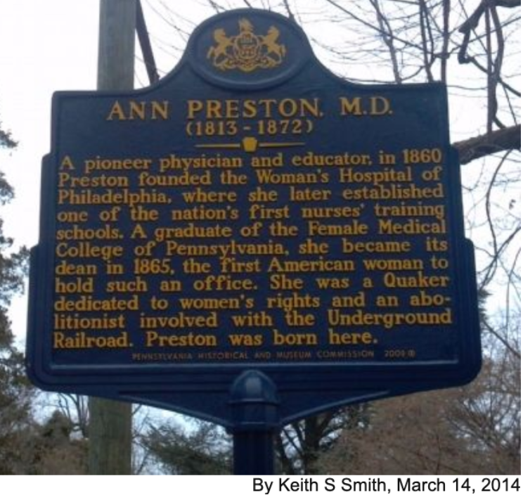 Ann Preston Marker in West Grove, PA