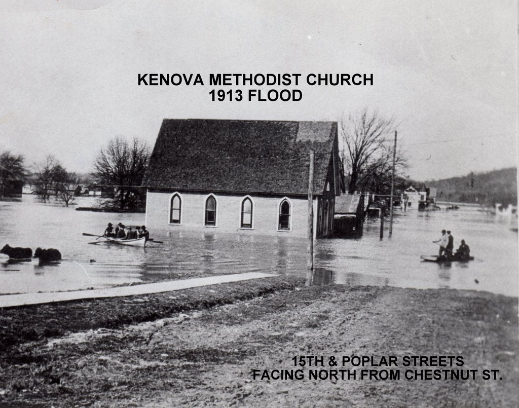 The original 1896 sanctuary during the Flood of 1913.
