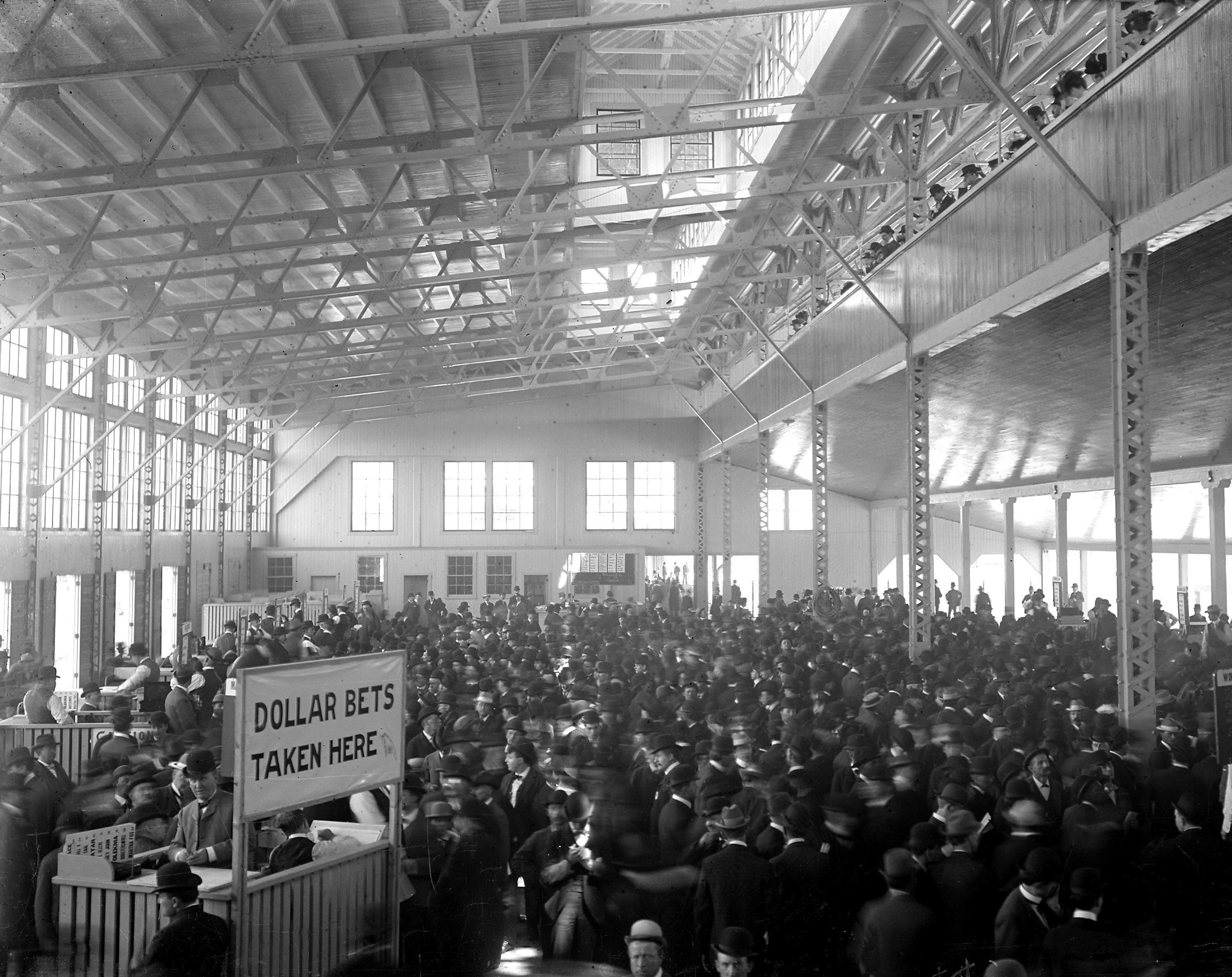 Betting Shed at Benning Race Track in DC. The Prospect Park track would have been smaller than this, but the commotion was similar. Courtesy of Keeneland Library Cook Collection.