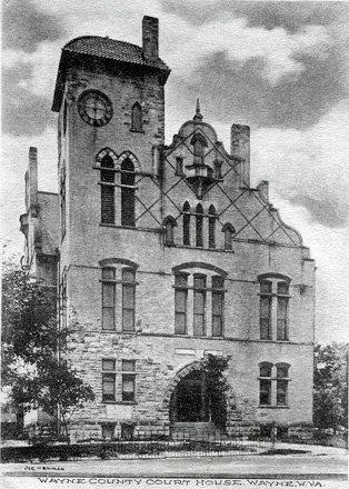The 1897 courthouse was destroyed in a fire in 1921, with some speculating arson to be the cause. Image obtained from waynecountywv.org.