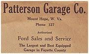 Patterson Garage business card used for promotion.