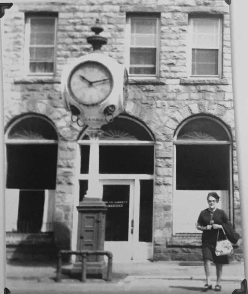 First National Bank with original clock.