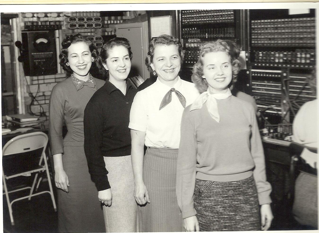 Mt.Hope Telephone Switchboard office was located on the second floor of the First National Bank building. As seen in image , Susan Spade in the white blouse  and Dixie Painter is in the black top,