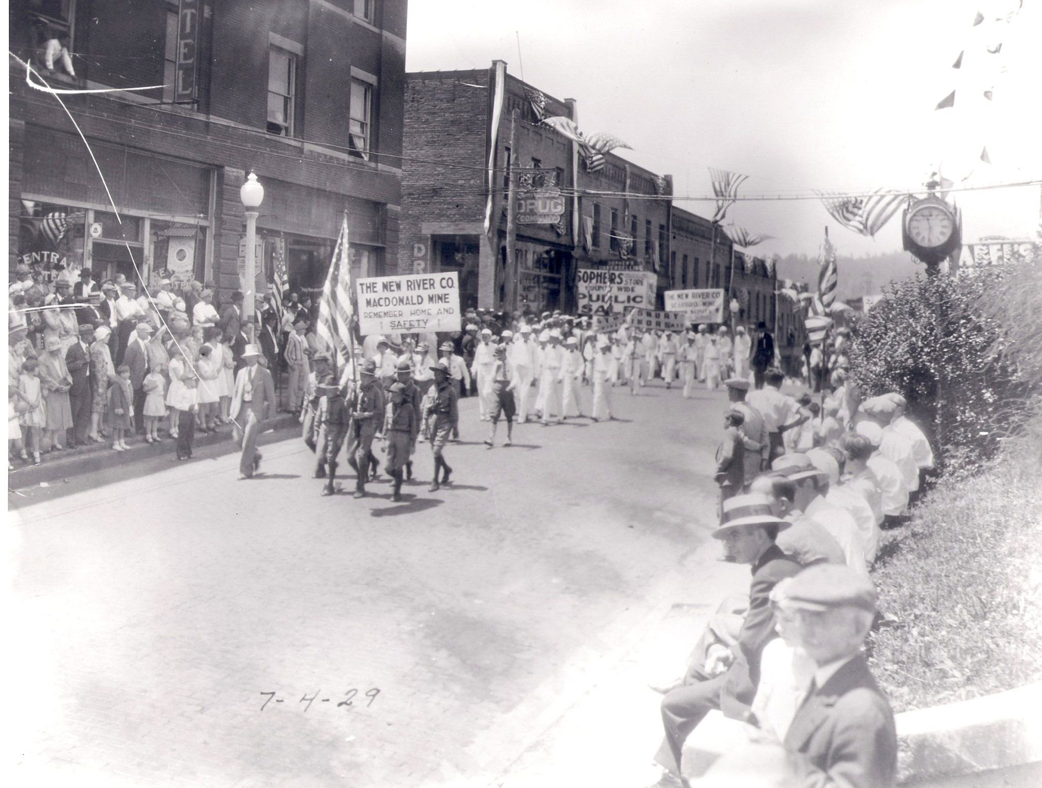 Parade with boy scouts, 1929.