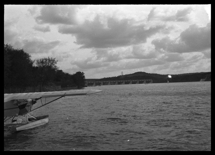 Lake Austin and Tom Miller Dam in 1940, photo by Neal Douglass from the Portal to Texas History.