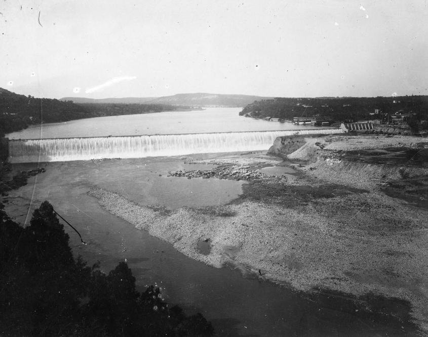 The completed Austin Dam in the late 1890s, photo from the LCRA.