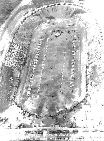 Arial image from Miner's Safety Competition shortly after the opening of the Mount Hope Stadium.