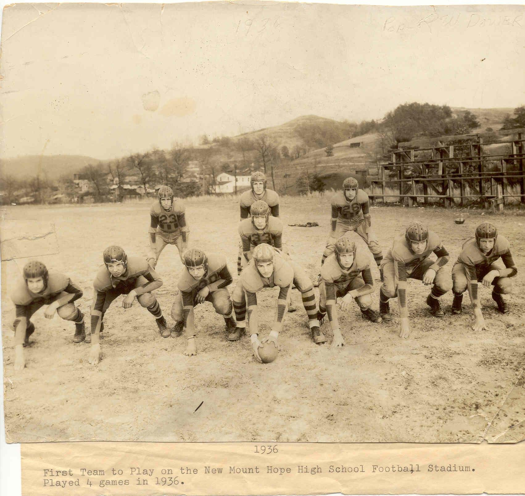 The 1936 Football Team was the first to play on Mount Hope's new field.