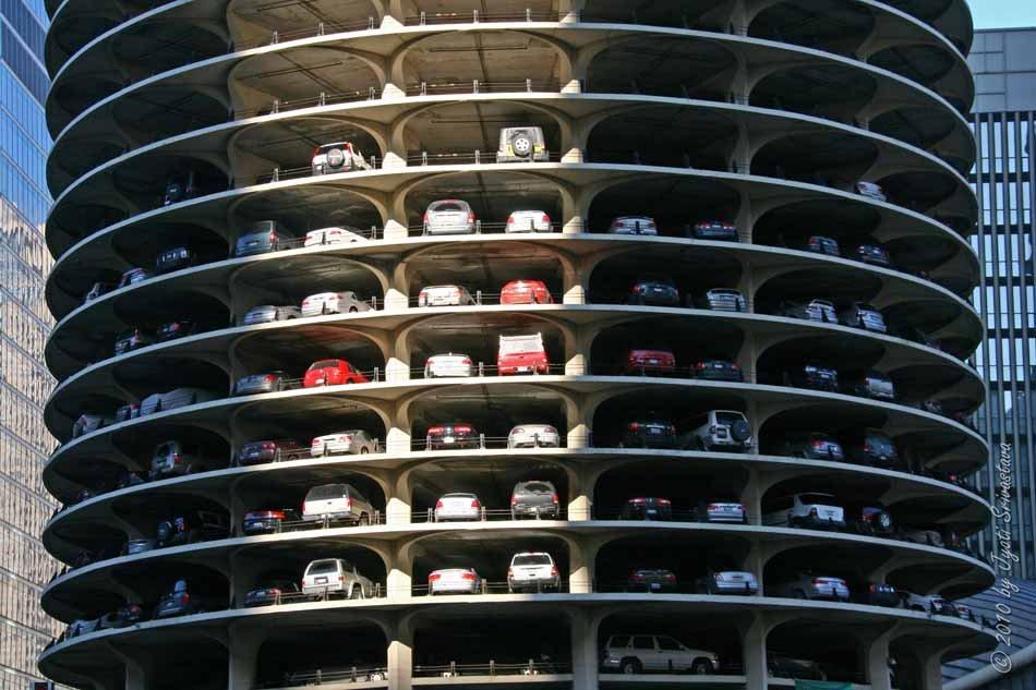 View of Marina City parking decks.