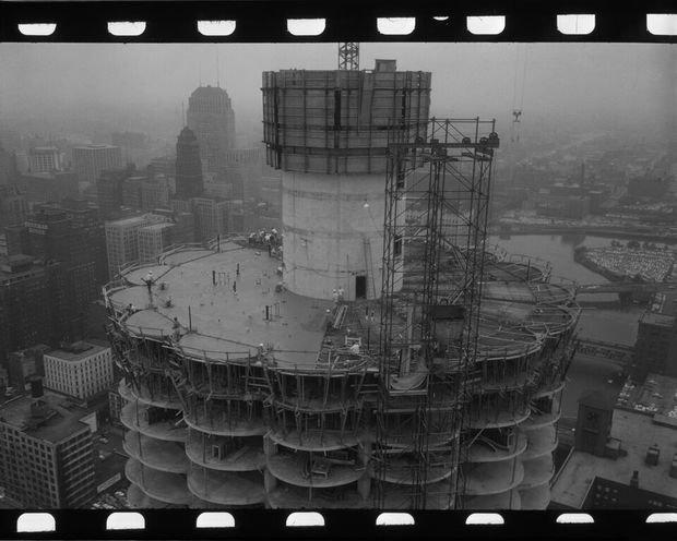 Construction photo of Marina Towers.
