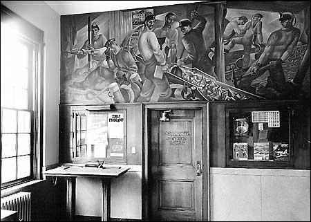 This image shows the interior area of the Mount Hope Post Office with the WPA mural.