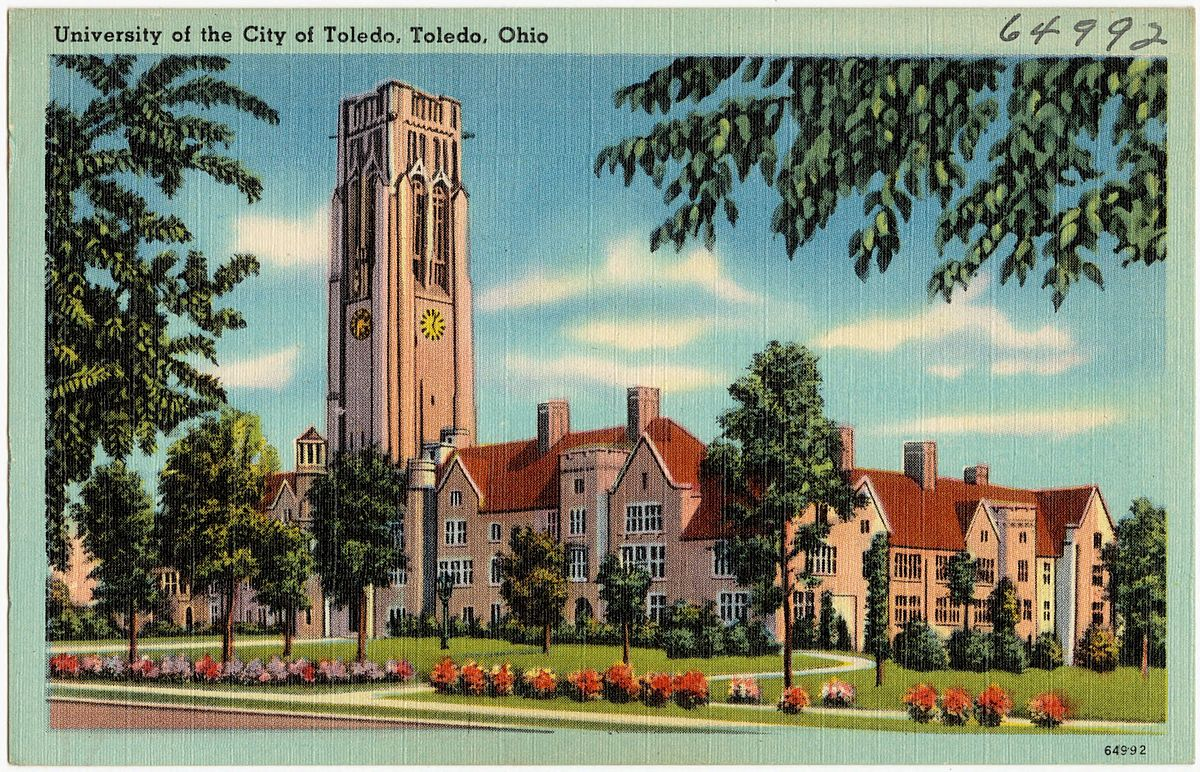 An undated postcard of the University of Toledo.