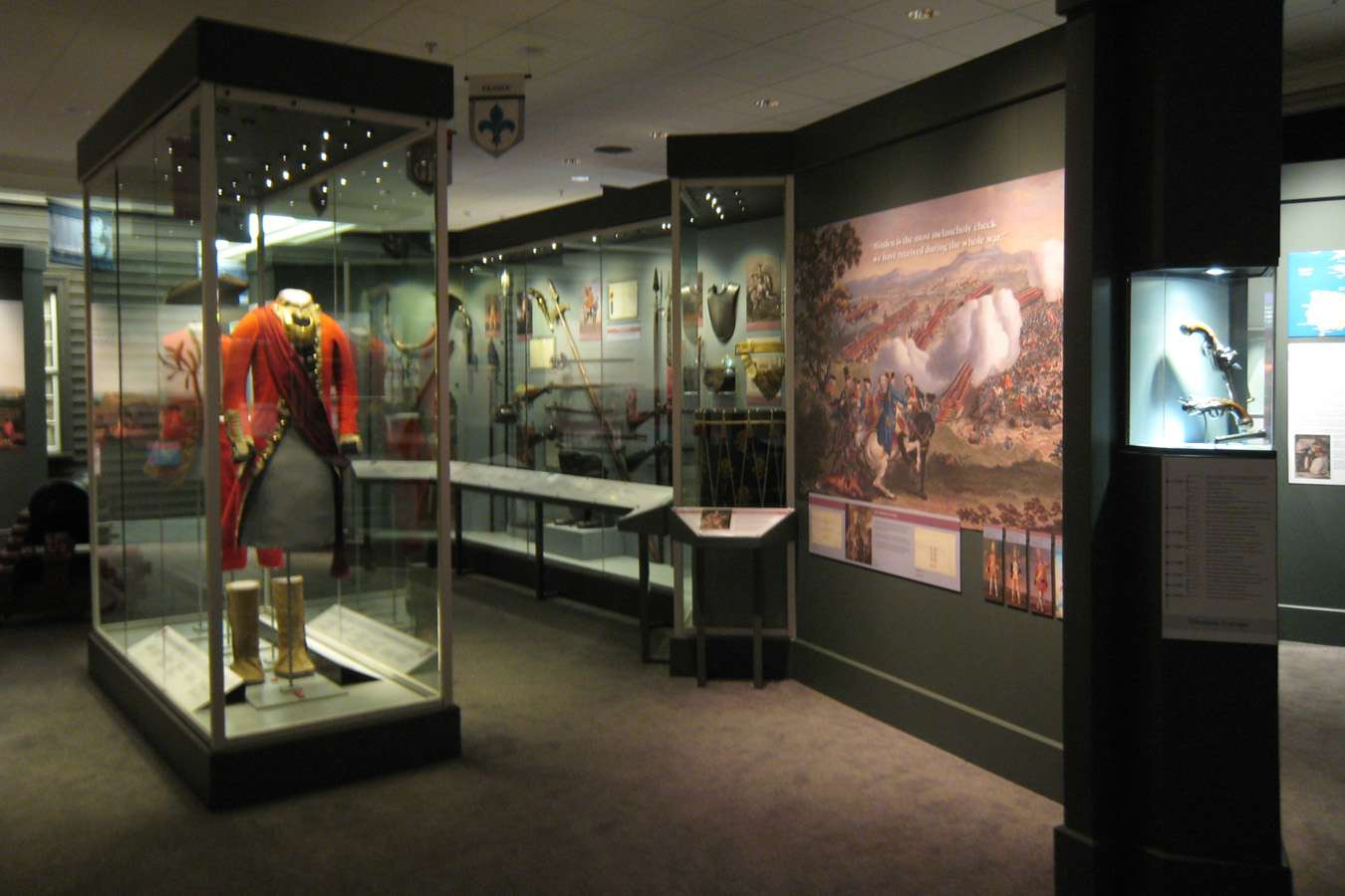 Exhibits within the Fort Ligonier museum, which includes historic uniforms, weaponry, and documents written by George Washington.