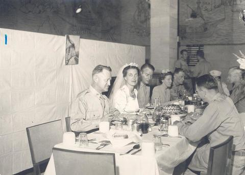 Wedding dinner for Lieutenant Marjorie Lovell and Lieutenant D.C. McBride.