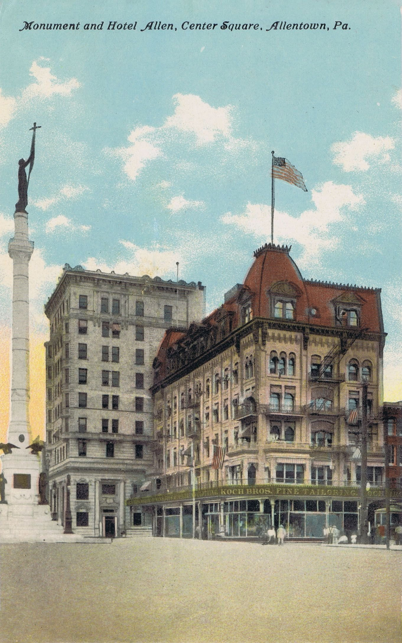 Center Square's Soldiers and Sailors Memorial (left), the Allen Hotel (foreground) and the Allentown National Bank (background) c. 1910.
