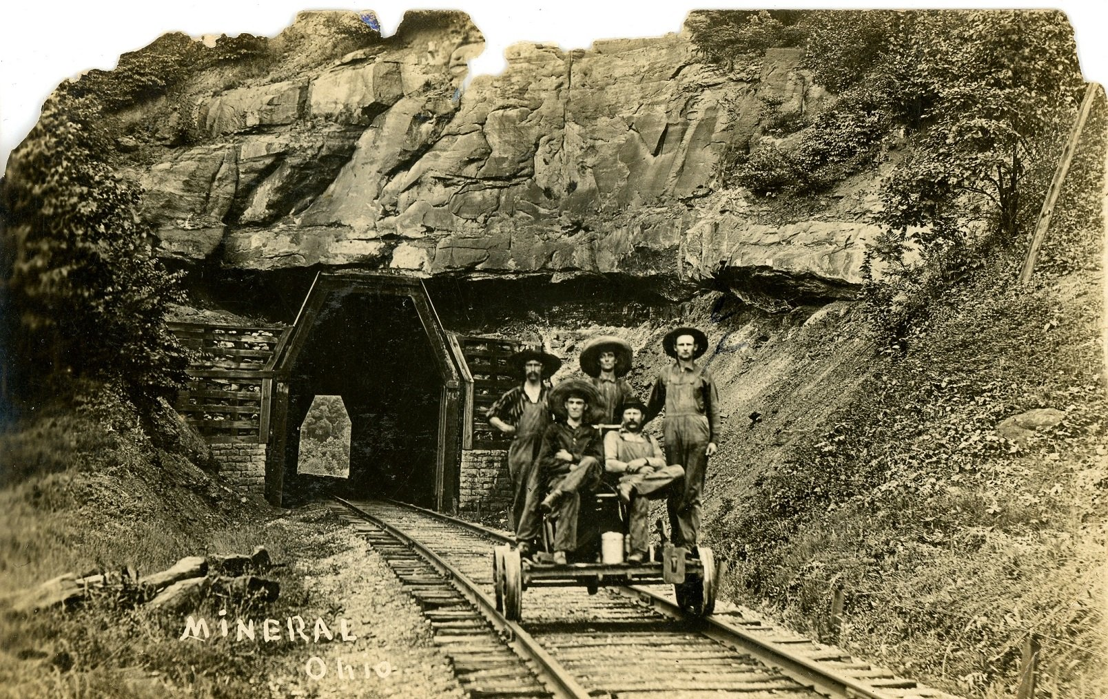 Postcard showing tunnel in the late 1800s. Courtesy of the Southeast Ohio History Center.