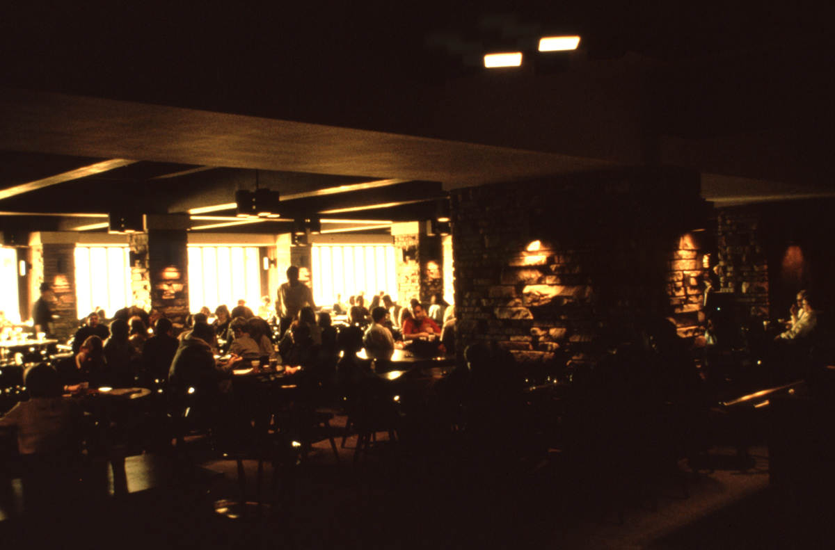 The interior of the Ramskeller Pub in the Lory Student Center (1970?)