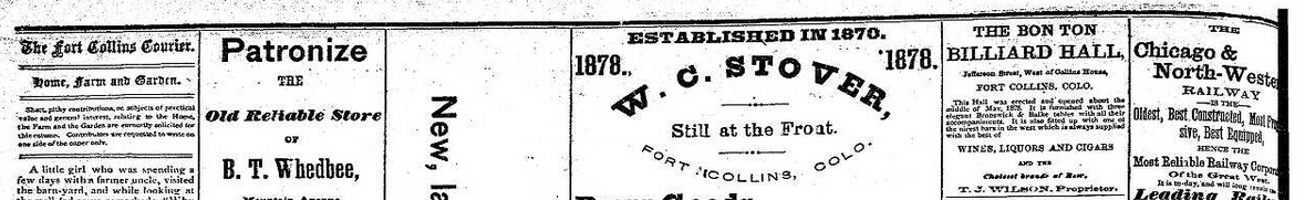 Advertisement in the Fort Collins Courier for Bon-Ton Billiard Hall dated March 13, 1879.