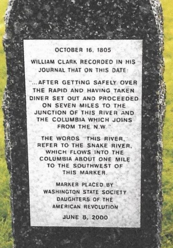 "Excerpt: October 16, 1805 ""...After getting safely over the rapid and having taken diner set out and proceeded on seven miles to the junction of this river and the Columbia which joins from the N.W."""
