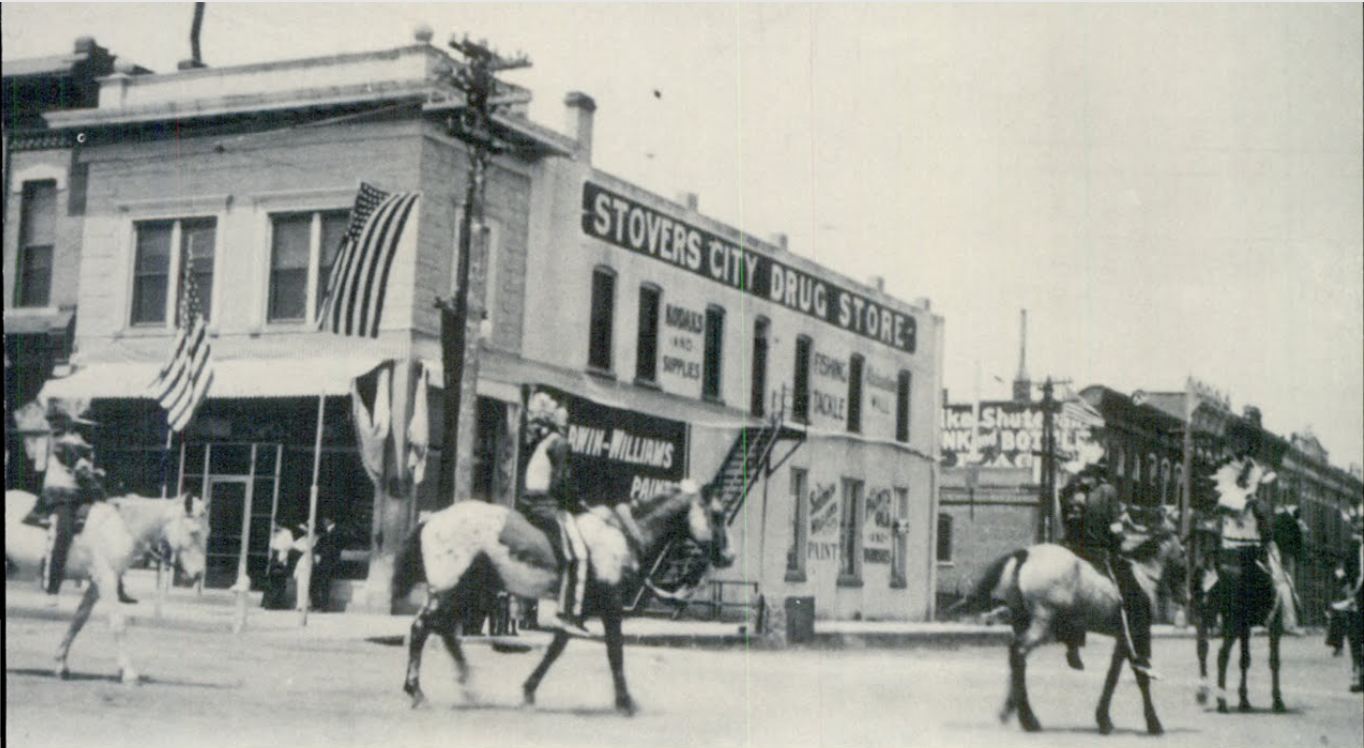 F. P. Stover's Drugstore in 1907, after the second level was added.