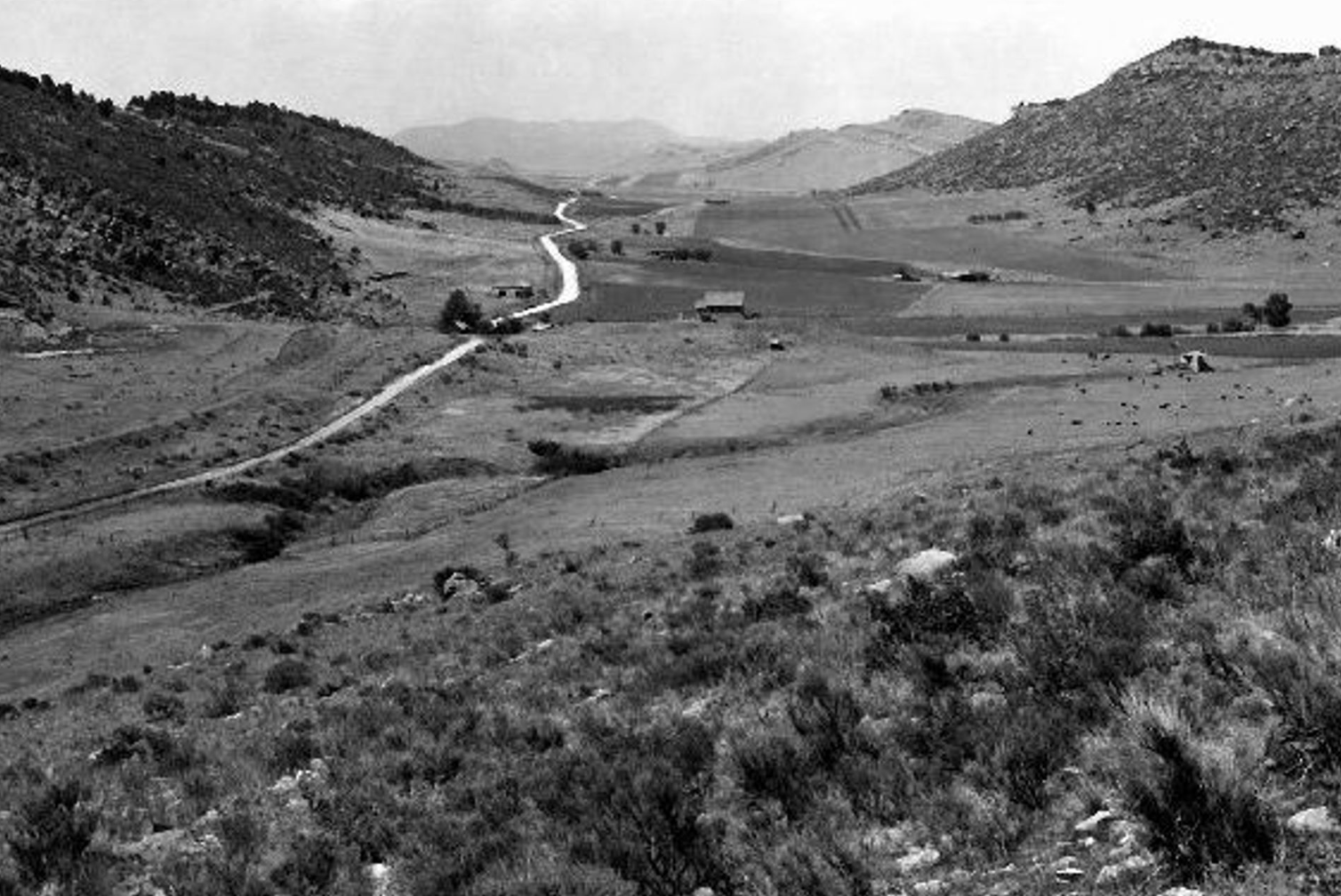 Stout in 1946, one month before construction of the reservior. (Courtesy of the Bureau of Reclamation)