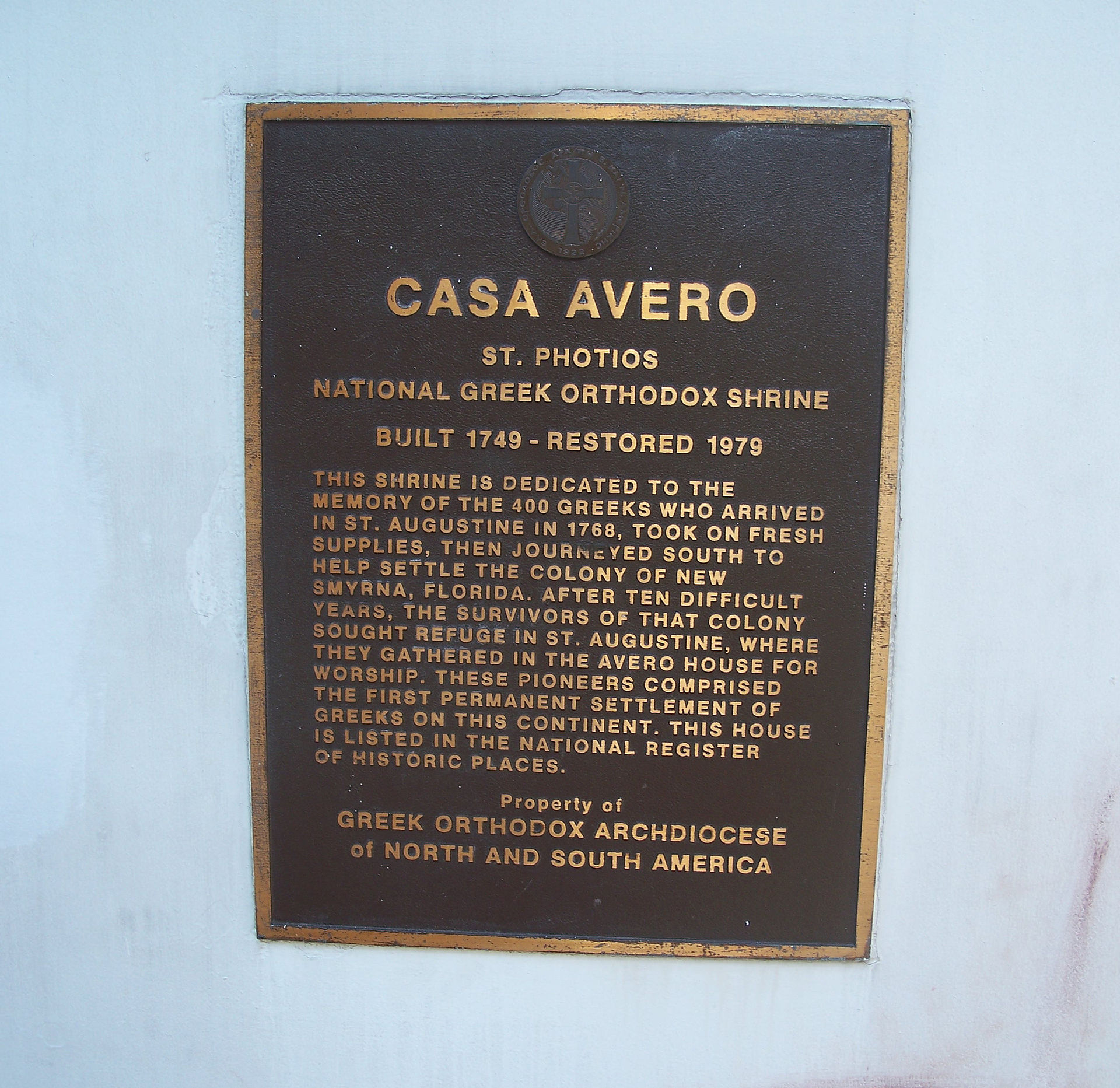 Plaque located on the Avero House. Credit: Ebyabe, WikimediaCommons