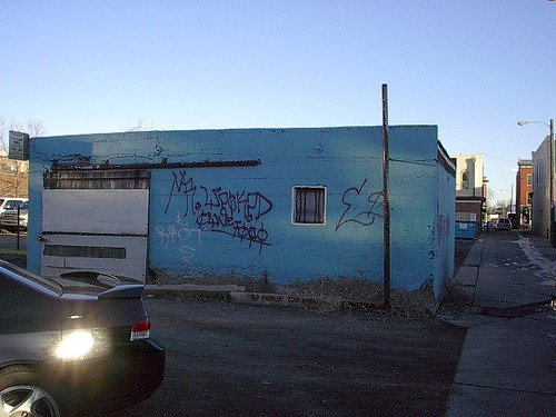 The drunk tank before being painted over in the late 2000s.