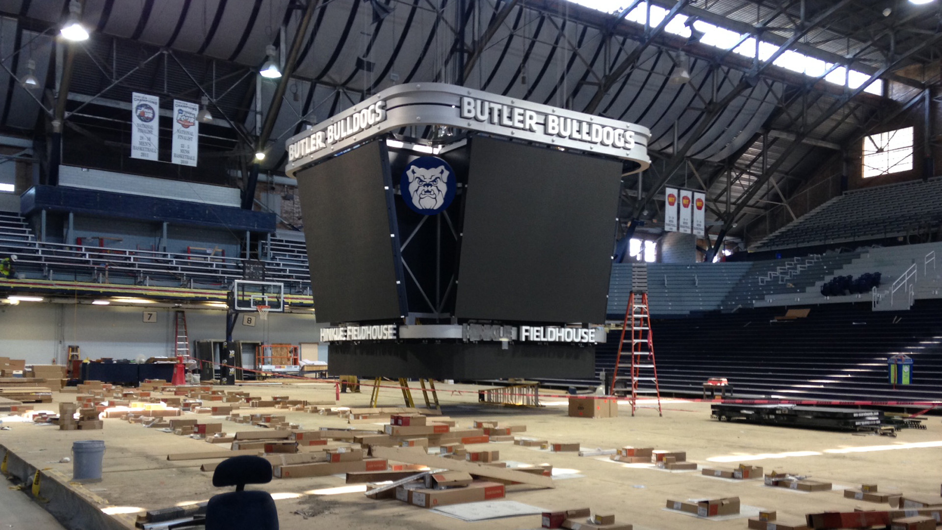This new video scoreboard was added to Hinkle in 2014.