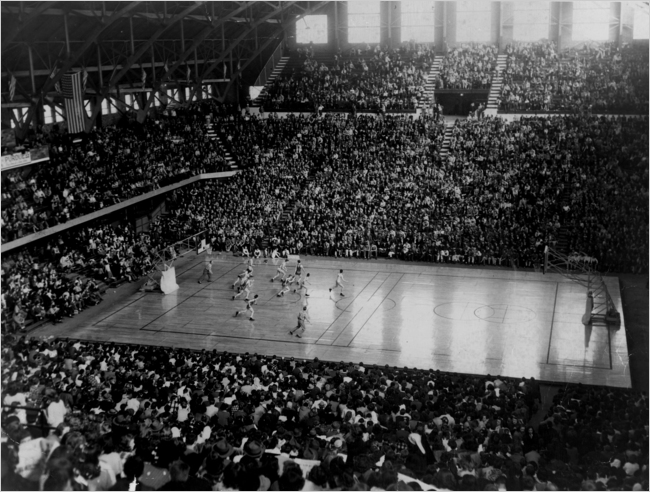 15,000 fans watch this 1947 game between Lawrence Central and Manual.