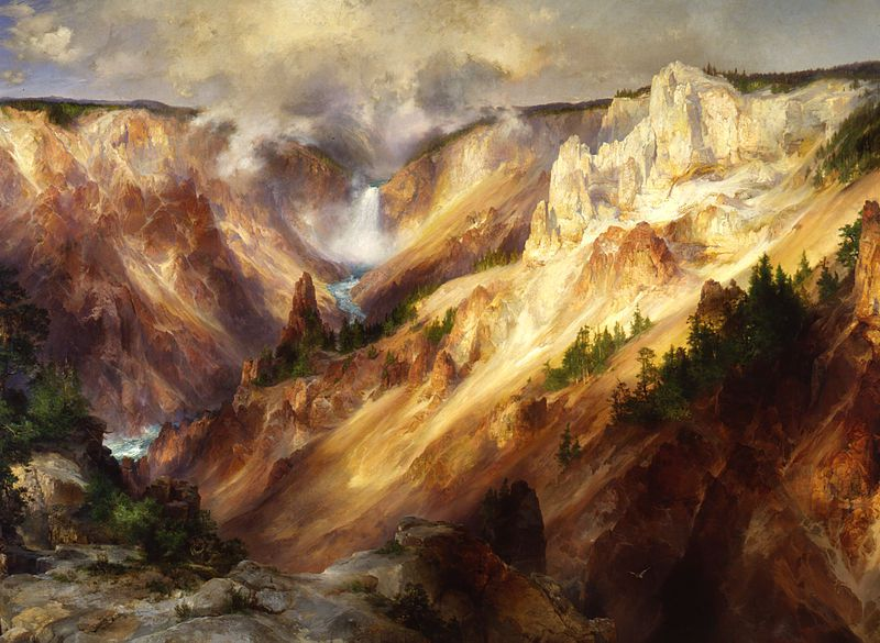"Thomas Moran created this painting entitled ""The Grand Canyon of the Yellowstone"" after going on the Hayden Expedition of 1871. Perhaps his most famous work, it conveyed the otherwise unbelievable beauty of Yellowstone to everyday Americans."