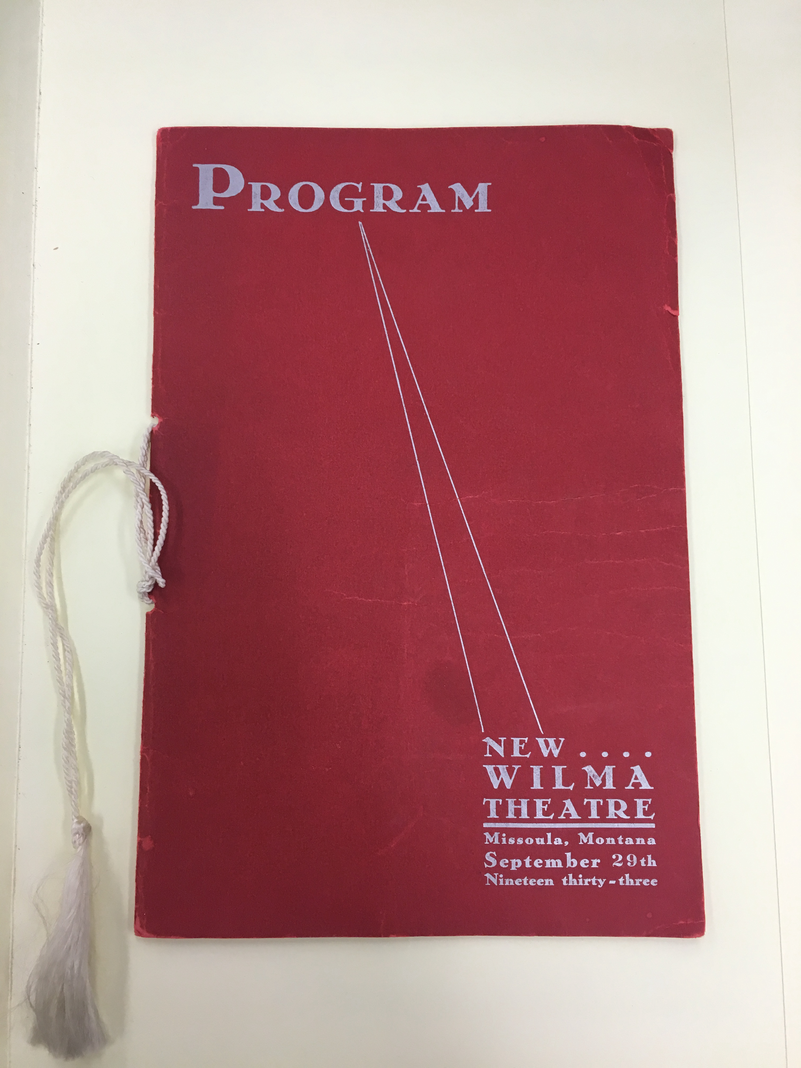 This is an original program from the Wilma Theatre from September 29th, 1933.