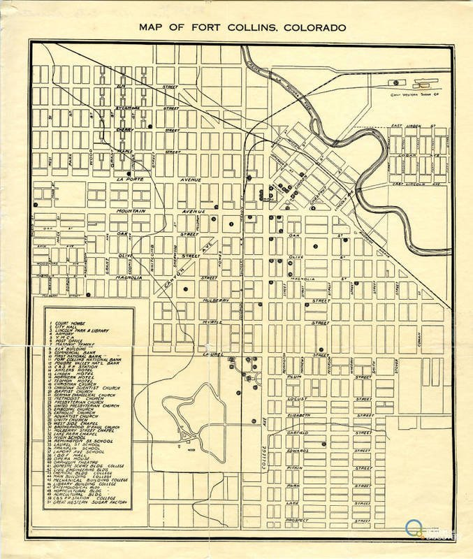 Map of Downtown Fort Collins. 1910