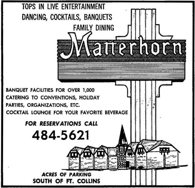 An advertisement for the Matterhorn. In this photo, we see how the location was advertised as a jack of all trades, where people could go to eat, drink, dance, and socialize with their friends and family. (1968)