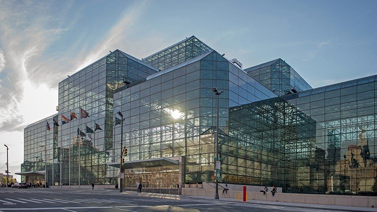 The center is built mainly with glass.