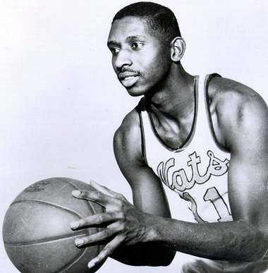 Earl Lloyd in his infamous Syracuse Nationals jersey in which he helped the team to win a NBA championship in 1955