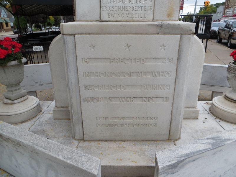 Creston World War II Memorial Marker Text