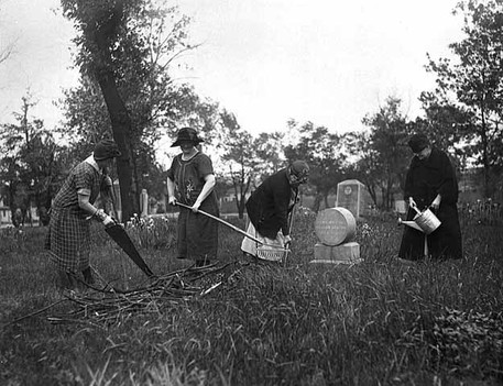 Women cleaning up Layman's Cemetery in the 1920s