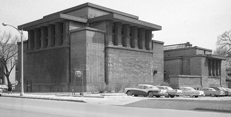Black and white photo of Unity Temple
