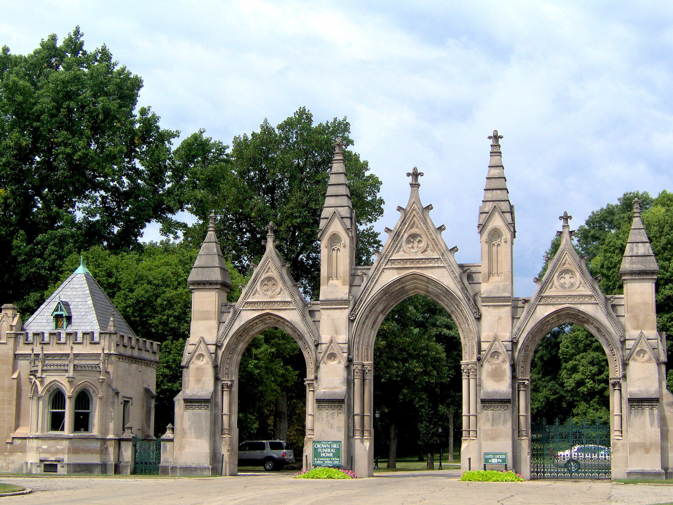 Crown Hill's famous triple-arched east entrance, located on 34th Street, was completed in 1885.