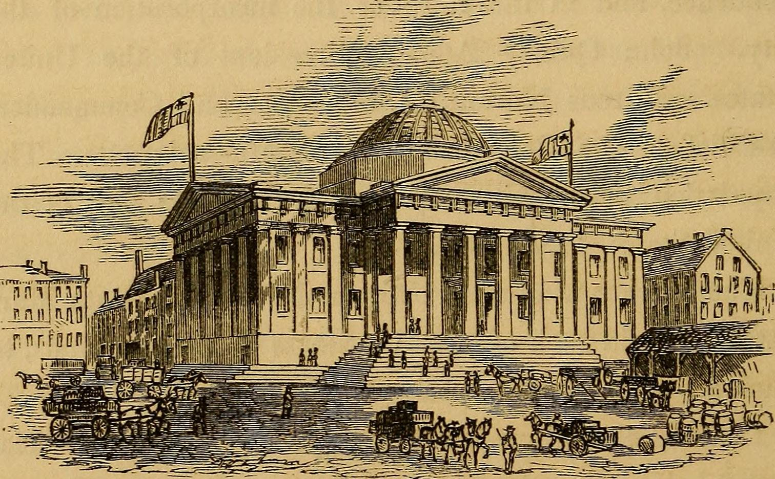 The original structure of what is now the Custom House. This render represents the structure in 1856, before the clock tower addition was built. Photo used with permission: https://www.flickr.com/photos/126377022@N07/1478015565