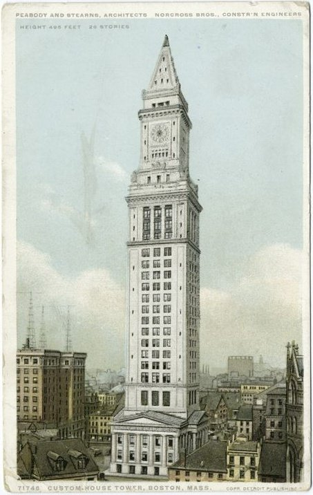 The Custom House in 1915 with the clock tower addition. At this point, the Custom House was the tallest tower in Boston. Source: WikiMedia Commons (used with permission) https://sk.wikipedia.org/wiki/S%C3%BAbor:CustomHouseTower_Boston_DetroitCo.jpeg