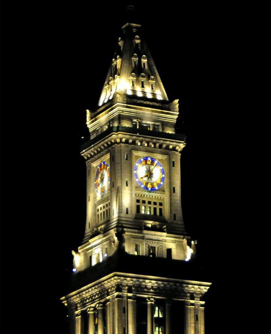 The Customs House clock tower in 2009. The clock continues to function today. Source: WikiMedia Commons (used with permission) https://en.wikipedia.org/wiki/Custom_House_Tower#/media/File:Custom_House_Tower_Clock_Massachusetts.jpg