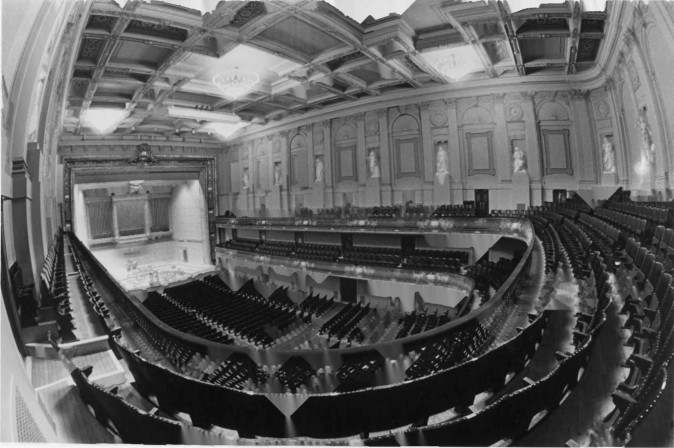 Interior view of the Boston Symphony Hall, courtesy of the 1976 Harvard Fine Arts Library Digital Images & Slides Collection. The design was groundbreaking as this Hall was the first to use scientific acoustic principles in its architecture.