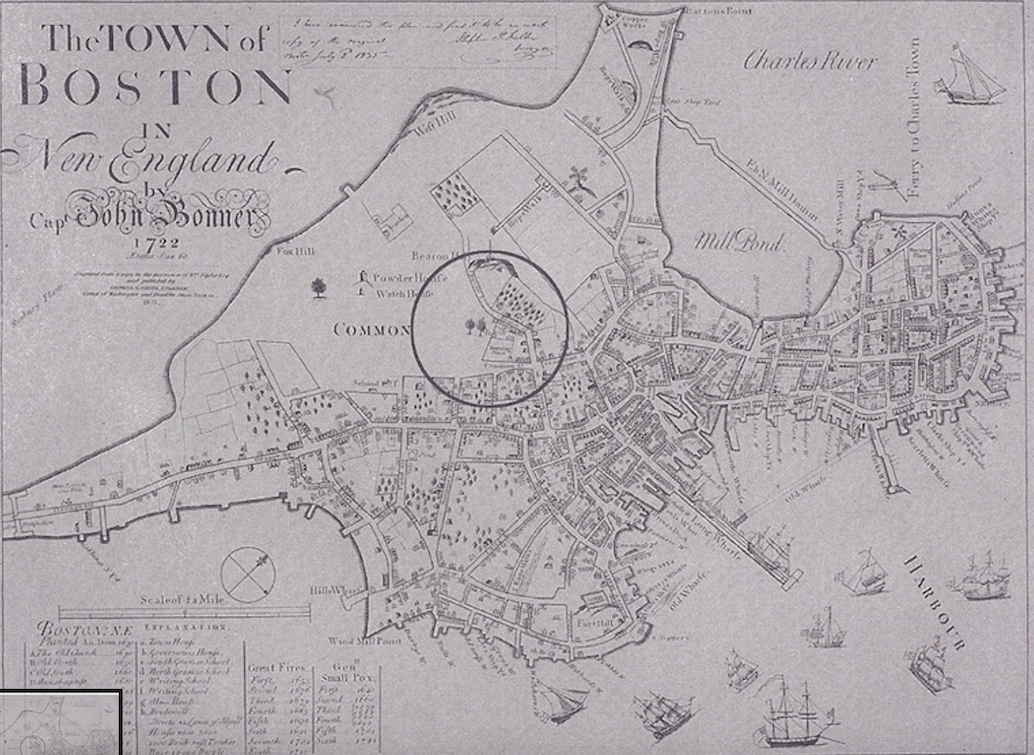 This map, created by Captain John Bonner, shows the location of the original Almshouse in historical Boston. Its proximity to wealthier areas contributed to its move in the 19th century. Image courtesy of the Colonial Society [6].