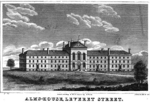A view of the Almshouse, built by Charles Bulfinch from 1799-1801. It was demolished in 1825. Image courtesy of Wikimedia.
