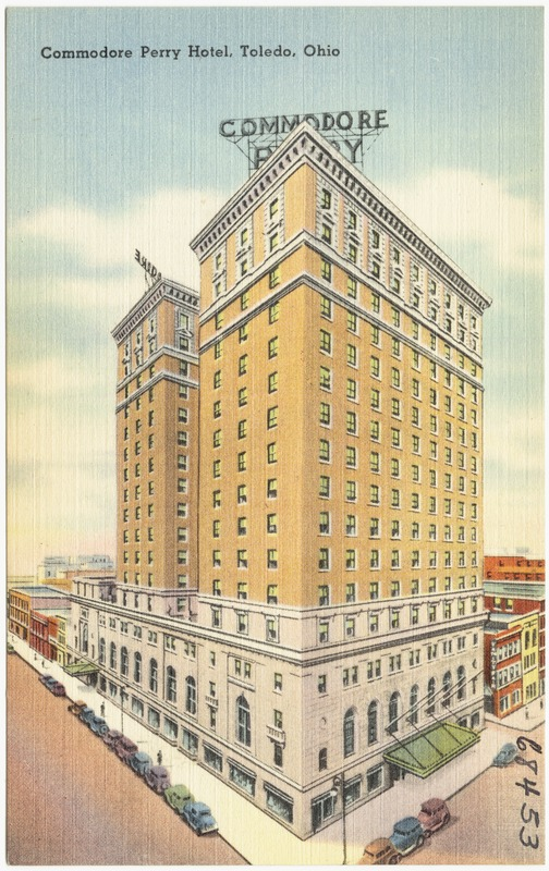 A rendering of the Commodore Perry Hotel on a postcard, undated.