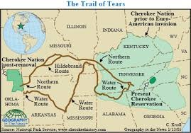 "The ""Trail of Tears"" map displays the trail's path through  Alabama, Arkansas, Georgia, Illinois, Kentucky, Missouri, North Carolina, Oklahoma, and Tennessee.The march began October 1, 1838 and ended in Oklahoma on March 24, 1939."