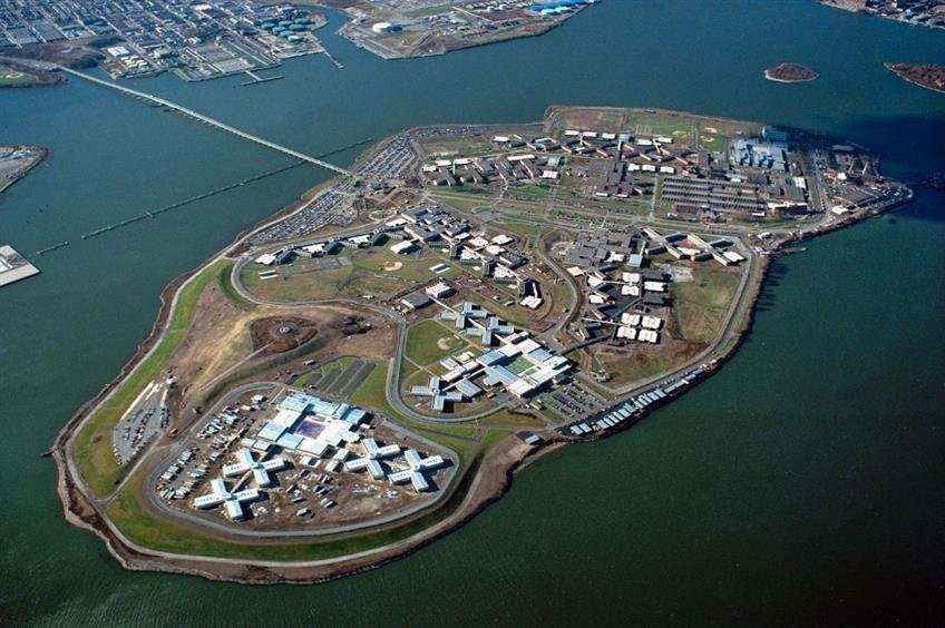 The Rikers island correction is surrounded by water.