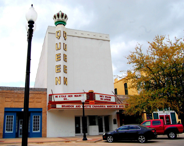The Queen Theatre was built in 1939 and is a rare example of Streamline Moderne architecture in Bryan.
