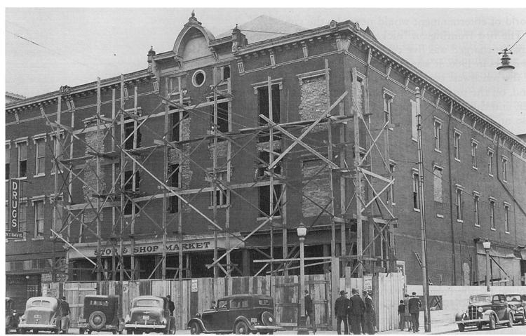 The Davis Opera House in 1939 during a remodel to convert the opera house into the Montgomery Ward store.